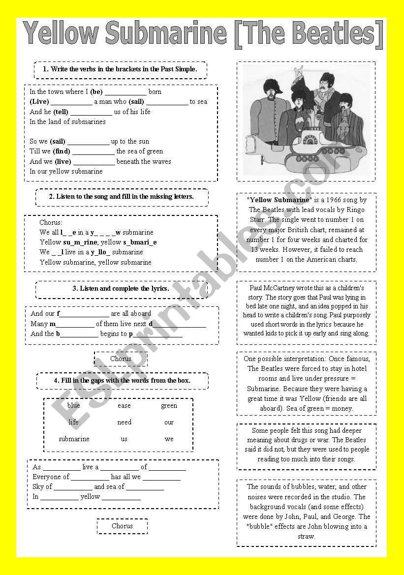 SONG!!! Yellow Submarine [The Beatles] - Printer-friendly
